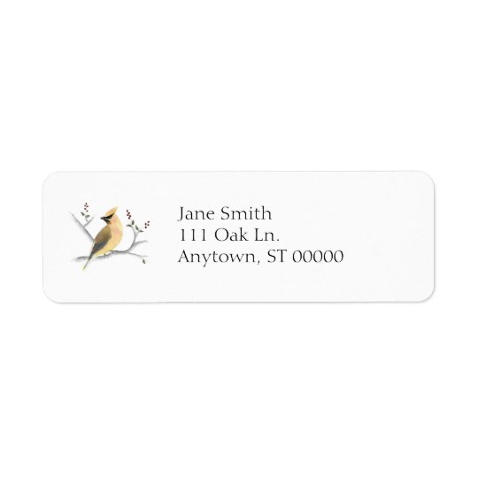 Watercolor Cedar Waxwing Address Labels