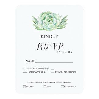 watercolor celadon succulent wedding rsvp 11 cm x 14 cm invitation card