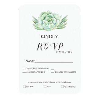 watercolor celadon succulent wedding rsvp 9 cm x 13 cm invitation card