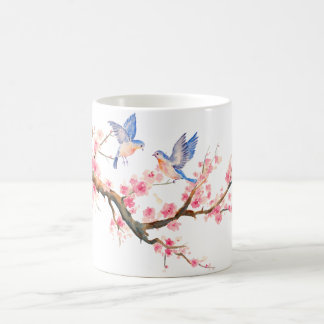 Watercolor Cherry blossom and Blue birds Mug