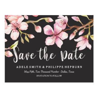 Watercolor Cherry Blossom Black Save the Date Postcard