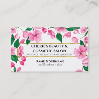 Watercolor cherry blossom flower pink white salon business card