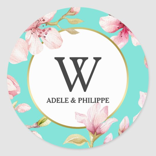 Watercolor Cherry Blossom Monogram Classic Round Sticker