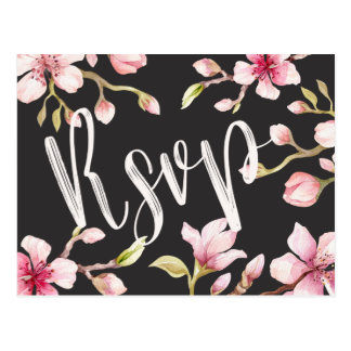 Watercolor Cherry Blossom RSVP Postcard