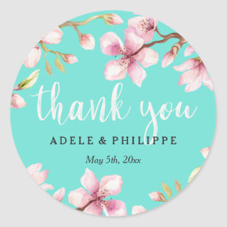 Watercolor Cherry Blossom Thank You Classic Round Sticker