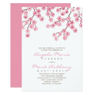 Watercolor Cherry Blossom Wedding Card