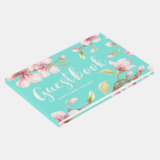 Watercolor Cherry Blossom Wedding Guest Book