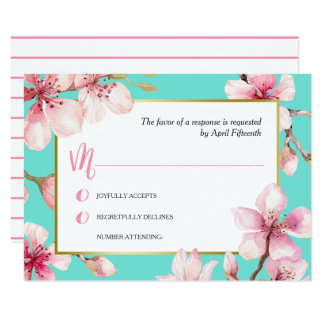 Watercolor Cherry Blossom Wedding RSVP Card