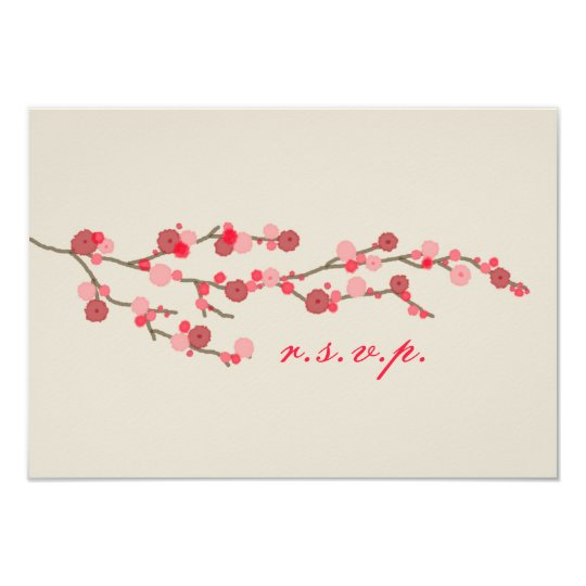 Watercolor Cherry Blossom Wedding RSVP Card