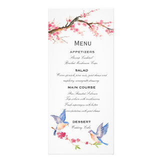 Watercolor Cherry Blossom with BlueBirds Customized Rack Card