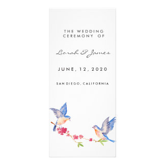 Watercolor Cherry Blossom with BlueBirds Personalized Rack Card