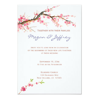 Watercolor Cherry Blossoms in pink and cream Card