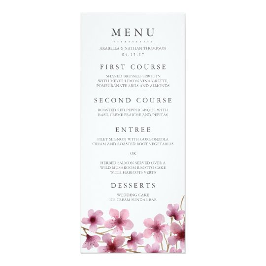Watercolor Cherry Blossoms Wedding Menu Card