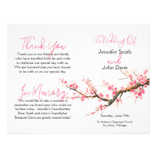 Watercolor Cherry Blossoms Wedding Program 21.5 Cm X 28 Cm Flyer