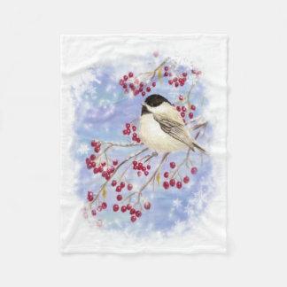 Watercolor Chickadee & Berries Frosty Winter Scene Fleece Blanket