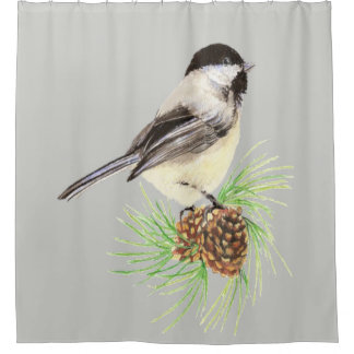 Watercolor Chickadee Bird Custom Background color Shower Curtain