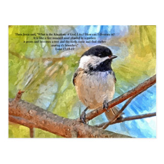 Watercolor Chickadee with Bible Verse Postcard