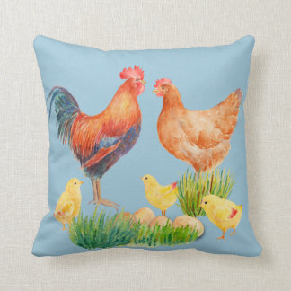 Watercolor Chicken Family Pillow