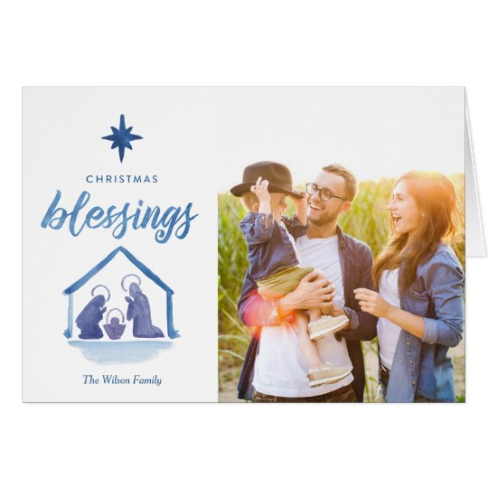Watercolor Christmas Blessings Nativity Photo Card