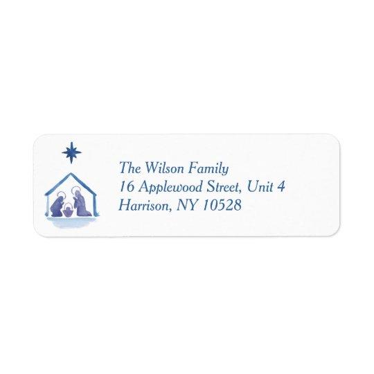 Watercolor Christmas Blessings Nativity Return Address Label