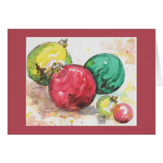 Watercolor Christmas Card: Ornaments Note Card