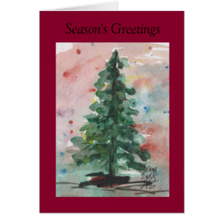 Watercolor Christmas Card: Tree Greeting Card