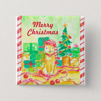 Watercolor Christmas Cats 15 Cm Square Badge