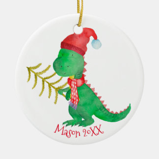 Watercolor Christmas Dinosaur Personalized Christmas Ornament