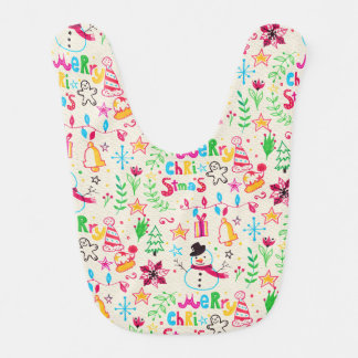 Watercolor Christmas Elements Pattern Baby Bib