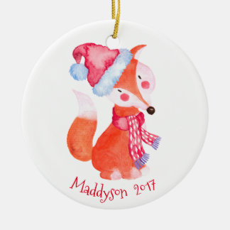 Watercolor Christmas Fox Personalized Christmas Ornament