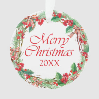 Watercolor Christmas Holly & Gingham Bow Wreath Ornament