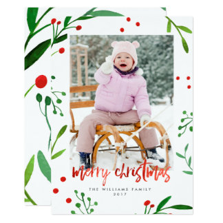 Watercolor Christmas Holly Photo Cards