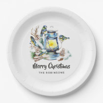 Watercolor Christmas Lantern Party Paper Plate