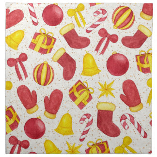 Watercolor Christmas Pattern Napkin