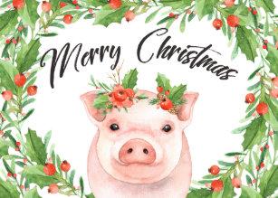 Christmas Pig.Funny Pig Christmas Cards Zazzle Uk