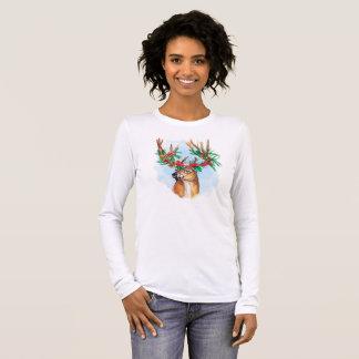 Watercolor Christmas Reindeer Long Sleeve Tee Shir