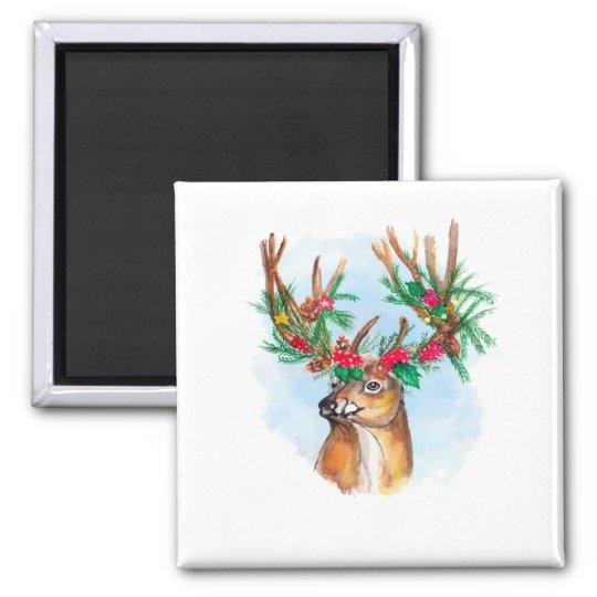 Watercolor Christmas Reindeer Magnet