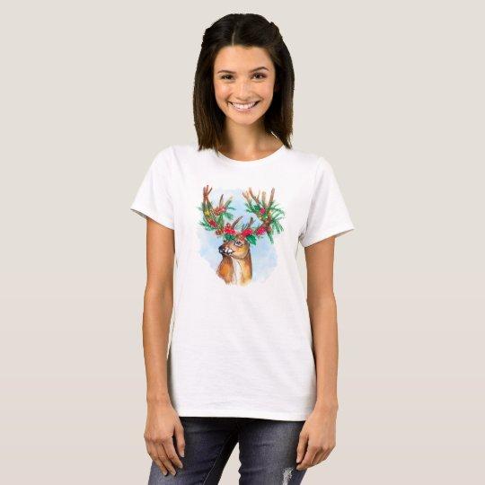 Watercolor Christmas Reindeer Tee Shirt