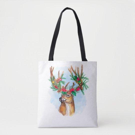 Watercolor Christmas Reindeer Tote Bag