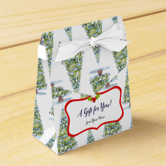 Watercolor Christmas Tree Art Favour Box