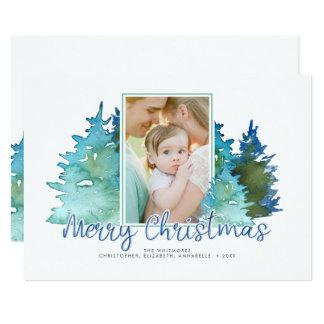 Watercolor Christmas Tree Holiday Photo Card