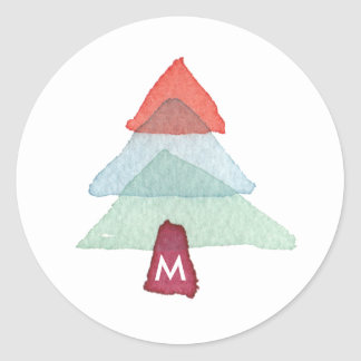 Watercolor Christmas Tree Monogram Holiday Sticker