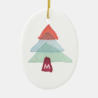 Watercolor Christmas Tree Monogram Ornament