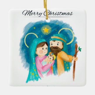Watercolor Christmas Tree Ornament Holy Family