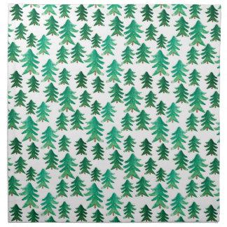 Watercolor Christmas Tree Pattern Napkin