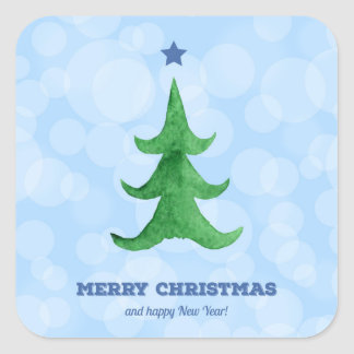 Watercolor Christmas Tree Square Sticker