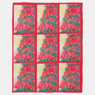 Watercolor Christmas Tree with Poinsettias Fleece Blanket