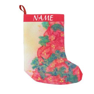 Watercolor Christmas Tree with Poinsettias Small Christmas Stocking