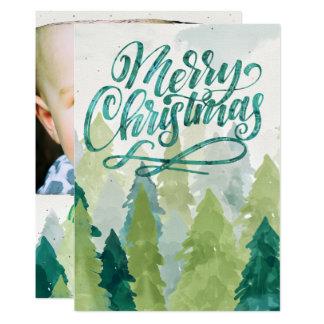 Watercolor Christmas Trees Holiday Photo Card