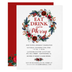 Watercolor Christmas Wreath Holiday Party